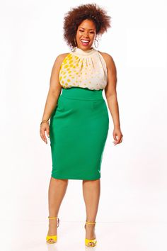 JIBRI Plus Size Sleeveless Iggy Tie Blouse. $90.00, via Etsy.     This outfit is so cute! And her hair is fabulous.