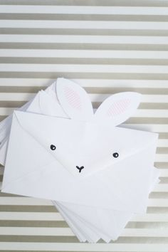 Bunny envelopes for your easter party invitations or easter greeting cards