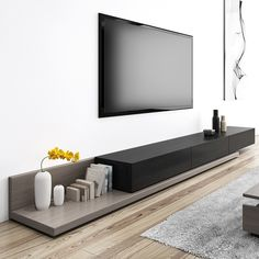 Kayla Wood Black and Grey Adjustable TV Stand Console with Storage, 79 Modern Tv Room, Modern Contemporary Living Room, Living Room Modern, Home Living Room, Living Room Decor, Modern Tv Wall Units, Home Room Design, House Design, Tv Stand Decor