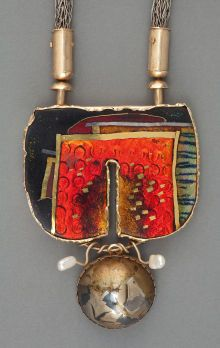 Silver Smalls:Other , A WILLIAM HARPER SILVER AND GOLD CLOISONNÉ ENAMEL NECKPIECE WITHBAROQUE PEARLS: RED PORTAL . William Harper, N... (Total: 2Items)