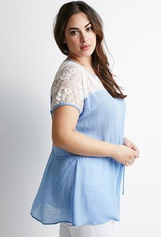 Plus Size Lace-Trimmed Tunic | Forever 21 PLUS - 2000114983 3x $19.90