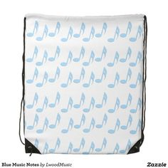 Blue Music Notes Drawstring Backpack