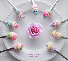 вкусные ложки, полимерная глина, ручная работа, кексы, сладости, ложки, polymer clay, spoon