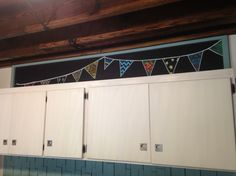 Blackboard above kitchen cabinets and wooden roof @hpbf
