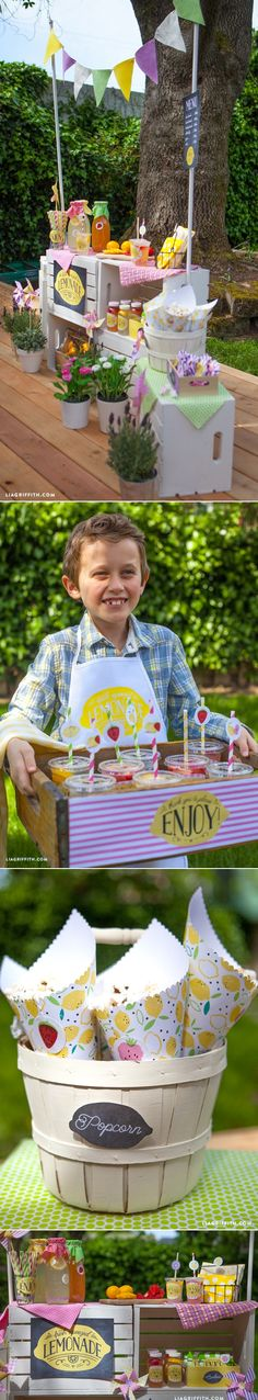 This is a cute idea for a reception or backyard party.   #DIY #Lemonadestand at www.LiaGriffith.com