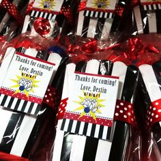 Cool favors at a bowling birthday party! See more party planning ideas at CatchMyParty.com!