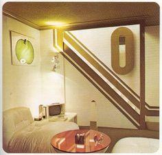 room Retro Room by Beautiful Rodney, via F - Futuristic Interior, Futuristic Design, Vintage Interior Design, Vintage Interiors, 70s Decor, Vintage Decor, Funky Kitchen, Retro Room, House Design