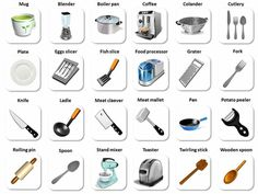 """Vocabulario """"en la cocina"""": Utensilios de cocina y verbos de cocina - ESL Buzz"""