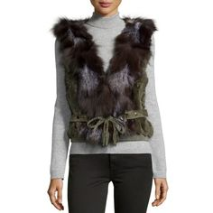 Love TokenBelted Rabbit & Fox Fur Vest, OliveDetailsLove Token dyed rex rabbit fur (China) vest. Natural silver fox fur (China) contrast along collar and front. Shawl collar; open front. Leather belt ties at natural waist. Fitted silhouette. Straight hem. Dry clean. Imported. Designer About Love Token: Los Angeles-based Love Token creates wearable clothing for the woman who loves luxury. Crafted from materials like cashmere, silk, and fur, the label's sweaters, jackets, and dresses are…