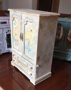 Painted Jewelry Armoire // Vintage Jewelry Box // Upcycled Wooden Jewelry Box by ByeByBirdieDesigns on Etsy https://www.etsy.com/listing/458438972/painted-jewelry-armoire-vintage-jewelry