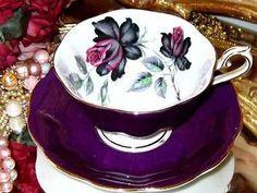 Royal Albert TEA CUP AND Saucer Avon Shape Purple Black Roses Masquerade Teacup…