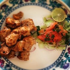These are marinated and cooked chicken cubes that can be barbecued or put in the oven. Chicken tikka make a great starter, especially for weddings.