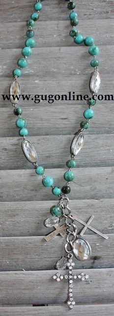 Turquoise Necklace with Crystal Cross www.gugonline.com $19.95