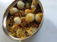 There are different ways of making this delicious mani kozhukattai. I love the addition of grated carrot and coconut in this snack. Potato Salad, Carrots, Spicy, Coconut, Potatoes, Eggs, Snacks, Breakfast, Mini