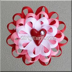 Loopy Valentine's Flower Hair Bow