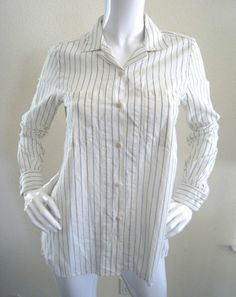 Steven Alan Shirt Blouse Button Down Striped Cream Blue Pinstripe S Women's