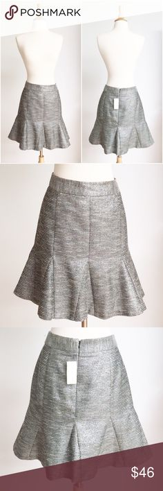 ⭐️NWT⭐️ Banana Republic Fit & Flare Metallic Skirt The skirt is new with tags without any defects. It has a beautiful shimmer metallic finish to it and a flared out bottom. It is fully lined with a rear zipper enclosure, and the length is 19 inches. Banana Republic Skirts Midi