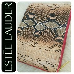 Estee Lauder Clutch Bag Estee Lauder Signature Cosmetic Traveler Zippered Bag, Snakeskin Style Faux Leathery Material, Gold Tone Zipper Hardware with Pink Lining Inside, Approx Size 11 x 8.5 inches, Mint Condition Estee Lauder Bags