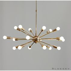 Atomic 18 Lights Arms Sputnik Starburst Light Fixture Chandelier Mid... ($349) ❤ liked on Polyvore featuring home, lighting, ceiling lights, black, chandeliers & pendant lights, home & living, brass light, solid brass chandelier, black chandelier and black lamp