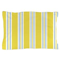 DesignerGal Designs: Yellow Awning Stripe Pillow Case: A crisp, cheerful awning stripe in yellow with blue and white. DesignerGal Designs All Rights Reserved. Bedding Collections, Pillow Cases, Outdoor Blanket, Blue And White, Pillows, Sweet, Prints, Design, Bed Pillows