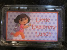 Dora mini-explorer lunch boxes made out of strawberry containers. Lunch Boxes, Making Out, Strawberry, Container, Mini, Strawberries, Canisters