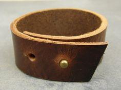 Raw edge bracelet , Leather cuff bracelet, Brown leather bracelet, Vintage…