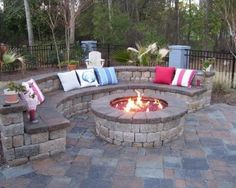 colorful toss pillows with stone circular bench for excellent patio ideas on a budget with round deck fire pitround - Patio Ideas With Fire Pit On A Budget
