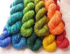 Mini Skeins: Flower Garden Semisolids -- hand over-dyed skeins.   LOVE the colors!!!