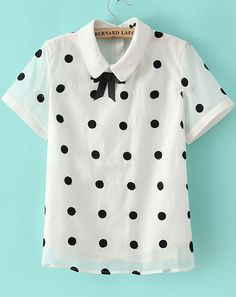 White Lapel Short Sleeve Polka Dot Chiffon Blouse