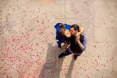 Romantic pre wedding photo shoot, top view potrait with rose petals by Jodi Clickers, clicked at Hotel Fairmont, Jaipur. | weddingz.in | India's Largest Wedding Company | Indian Wedding Photography | Wedding Photography Ideas |