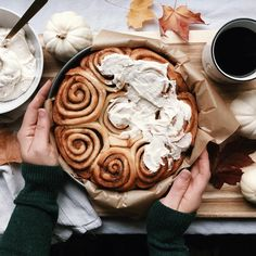 happily // ✧  Cinnamon rolls loaded in frosting  how delicious do these look? Best idea for an early Sunday morning!