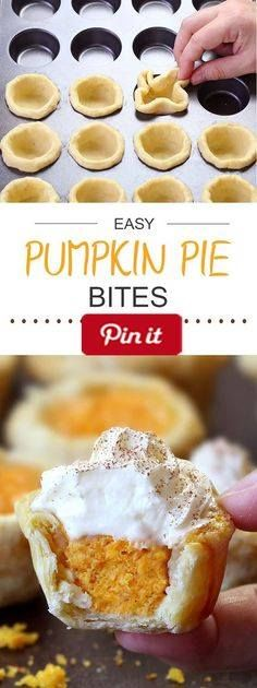 Easy Pumpkin Pie Bites - All the flavors of Homemade Pumpkin Pie packed into perfect portable fall dessert - Easy Pumpkin Pie Bites. Ingredients Produce 1 cup Pumpkin puree Refrigerated 2 Eggs 1 egg Baking & Spices 1 tsp Pumpkin pie spice cup Sugar 1 tsp Vanilla 1 Whipped cream Dairy 1 (8oz) package Cream cheese Other Homemade All Butter Pie Crust or 2 pre-made ready to roll pie crusts