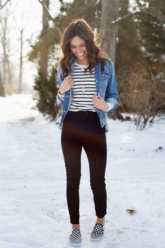 casual outfit denim jacket vans stripe shirt