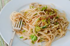 Spaghetti With Brussels Sprouts And Caramelized Balsamic And Honey Shallots