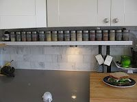 Labelled spice jars on under cabinet shelf