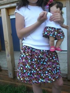 Skirt tutorial for doll and little girl free pattern : Avery Lane Blog