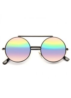Hallick Color Mirror Round Flip-Up Metal Sunglasses Oversized Sunglasses, Round Sunglasses, Mirrored Sunglasses, Optician, Prescription Lenses, Sunglass Frames, Types Of Fashion Styles, Flipping, At Least