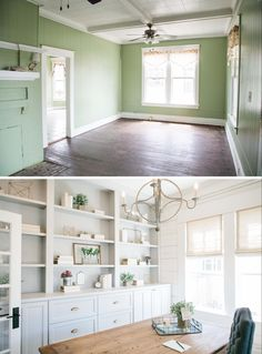 fixer upper: The 3 Little Pigs.  Office space. Built Ins. Chandelier. White.