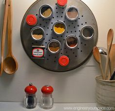 small kitchen ideas diy magnetic spice rack, cleaning tips, kitchen design, DIY pizza pan magnetic spice rack