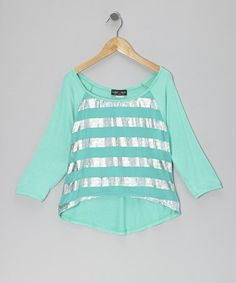 Take a look at this Turquoise Stripe Hi-Low Top by Rated G on #zulily today!