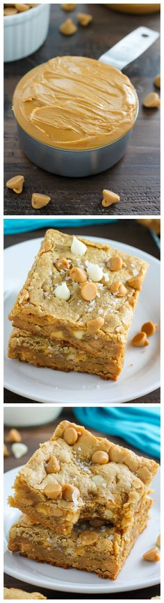 Thick and Chewy White Chocolate Peanut Butter Blondies. So good with a cup of coffee. Thick and Chewy White Chocolate Peanut Butter Blondies. So good with a cup of coffee. Peanut Butter Desserts, Brownie Desserts, Oreo Dessert, Chocolate Peanut Butter, Chocolate Cookies, Dessert Chocolate, Chocolate Coffee, Peanut Butter Chip Cookies, White Chocolate Brownies