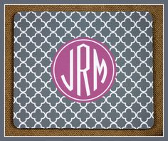 Mouse Pad Monogrammed Gifts Personalized Mousepad by ChicMonogram