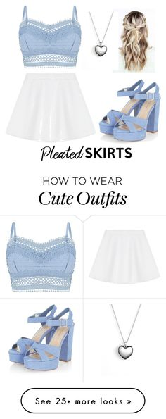 """Cute and girly outfit"" by mmixox on Polyvore featuring Lipsy, RED Valentino, Pandora and pleatedskirts"