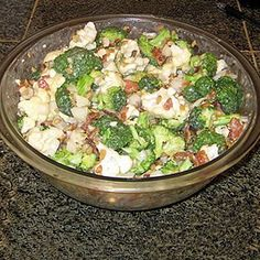 Broccoli and Cauliflower Salad - add bacon and golden raisins and you've got some yum!