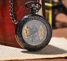 montre à gousset mécanique Médiéval noire, squelette.