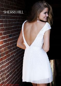 STUNNING Low Back Ivory Cocktail Dress - Sherri Hill Short Prom Dress 2840 - RissyRoos.com