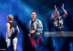 Dominic Howard, Matt Bellamy and Chris Wolstenholme of Muse perform in concert at Central Park SummerStage on July 24, 2017 in New York City.