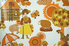 Retro Wallpaper by the Yard 70s Vintage Wallpaper - 1970s Orange and Yellow Country Farm Scenic on White with Flowers and Animals by RetroWallpaper on Etsy https://www.etsy.com/listing/196551119/retro-wallpaper-by-the-yard-70s-vintage