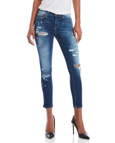 Flying Monkey Distressed Skinny Cropped Jeans