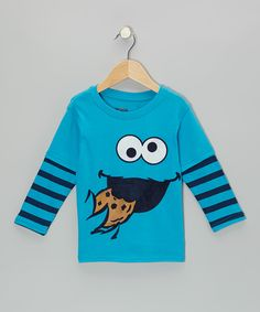 Blue Stripe Cookie Monster Layered Tee - Toddler